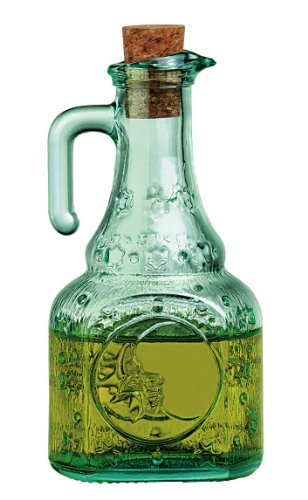 Salad Dressing Cruet Recycled Glass with Cork Top 8 Oz Italian Glass