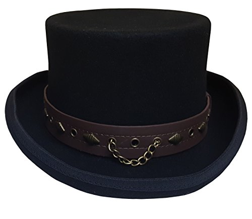 100% Wool Victorian Western Steampunk Costume Top Hat with Leather Band and Chain Black