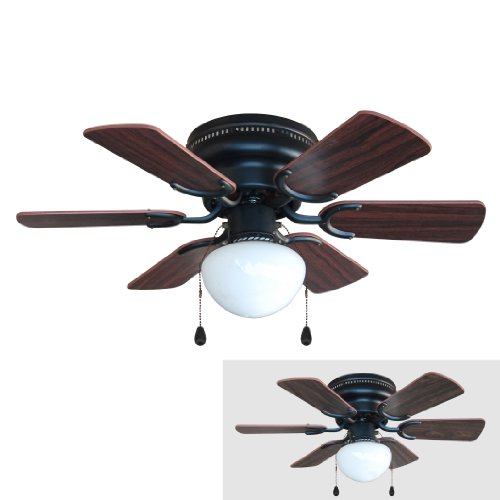 Walnut Ceiling Fan (Hardware House 17-4640 Arcadia 30-Inch Oil Rubbed Bronze Flush Mount Hugger Ceiling Fan, Cherry or Walnut Blades)