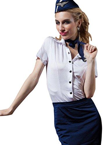Womens-Flight-Attendant-Stewardess-Uniform-Costume-w-Mesh-Stockings