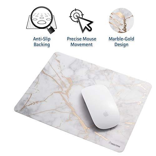 Insten Shiny Marble Mouse Pad - White/Gold Marble, Premium Ultra Slim Hard Plastic, Silky Smooth & Super Light w/Anti Slip Backing, Rectangle Mat for Desktops, PC & Laptops - 9.45
