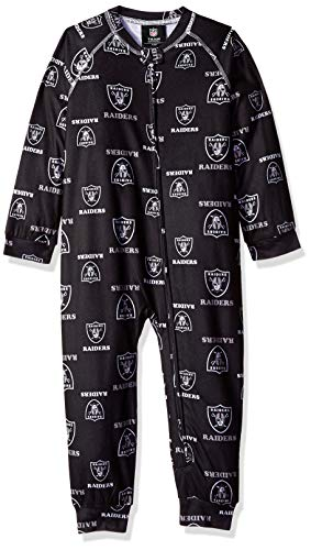 NFL Oakland Raiders Toddler Raglan Zip Up Coverall Black, 2T