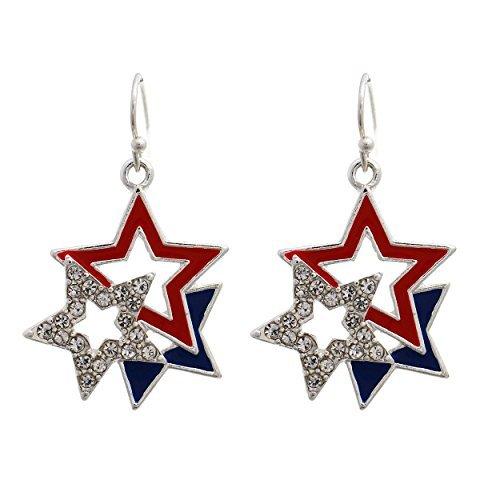 Patriotic Rhinestone Crystal 3 Star Cluster American Flag Fish Hook Dangle Earrings