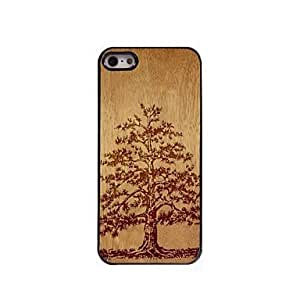 iPhone 5S Case, WKell Wooden Design The Tree Pattern Aluminum Hard Case for iPhone 5/5S