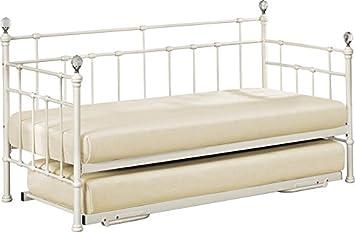 Birlea Einzelbett 90 Cm Größe Jessica Metall Modernes Tagesbett Mit  Rollbett, Metall, Beige,