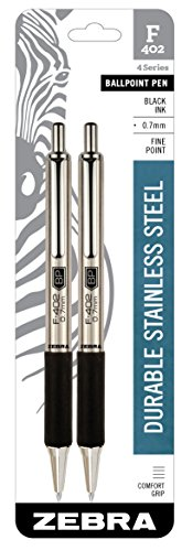 Zebra Pen 29212 Zebra F-402 Ballpoint Stainless Steel Retractable Pen, Fine Point, 0.7mm, Black Ink, 2-Count