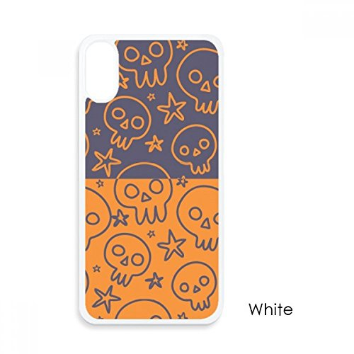 (Halloween Skull Cartoon Deck for iPhone X Cases White Phonecase Apple Cover Case)
