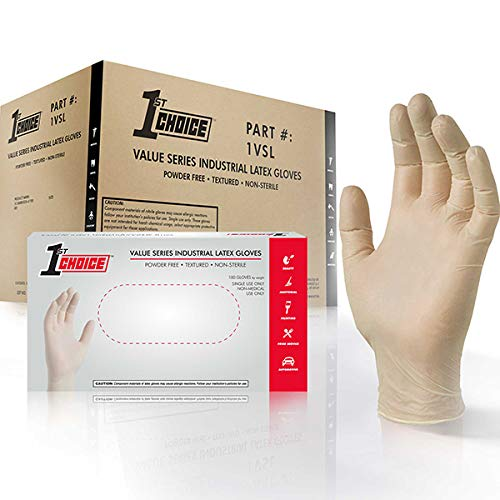 1st Choice Value Series Industrial Latex Gloves - Powder Free, Textured, Non-Sterile, XLarge, Case of 1000