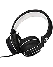 rockpapa 950 Stereo Lightweight Foldable Headphones Adjustable Headband With Microphone 3.5mm For Cellphones Smartphones iPhone Tablets Laptop Computer Mp3/4 DVD Black White