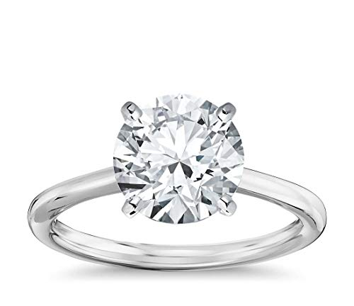 Parade of Jewels 14K Solid White Gold 3.0 Carat Solitaire CZ Engagement Ring, Size 7