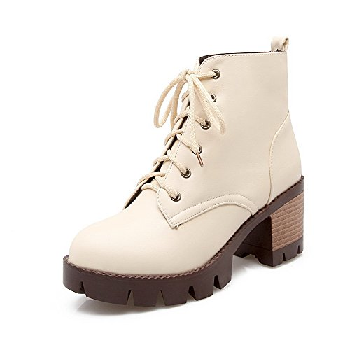 top Kitten Solid Toe AgooLar Round Women's Beige Soft Material Boots Closed Heels Low zYYX8