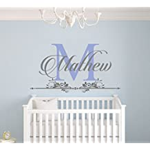 """Custom Name and Initial Wall Decal Nursery - Baby Boy Decoration - Mural Wall Decal Sticker For Home Interior Decoration Car Laptop (M282) (Wide 30"""" x 16"""" Height)"""