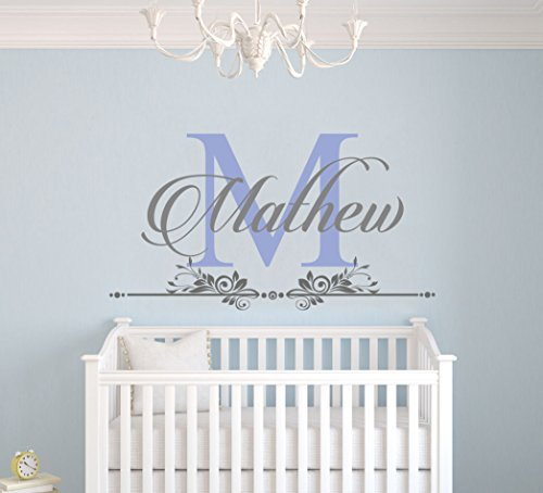 Custom Name and Initial Wall Decal Nursery - Baby Boy Decoration - Mural Wall Decal Sticker For Home Interior Decoration Car Laptop (M282) (Wide 26