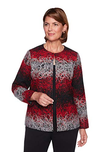Alfred Dunner Women's Cardigan Jacket with Jacquard Print, Multi, 12 (Dunner Alfred Blazer)