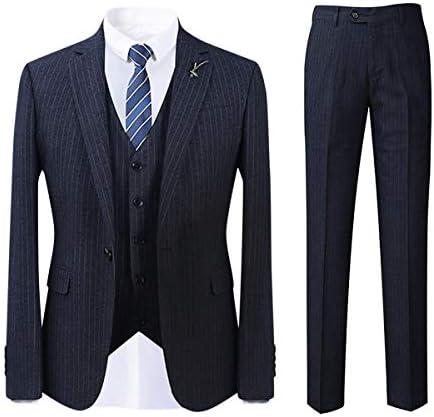 FOMANSH スーツ メンズ セットアップ スリーピーススーツ 秋冬 テーラードジャケット ビジネス 大きいサイズ S-4XL ストライプ柄 1つボタン 厚手 シルエット 秋冬 春 結婚式 通勤 パーティー