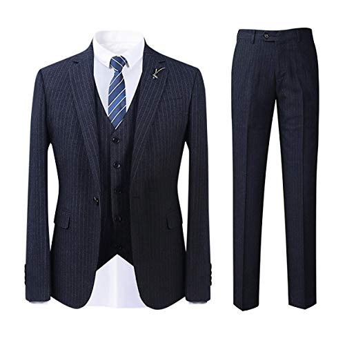 Men's Stripe Center Vents One Button 3-Piece Suit Blazer Jacket Tux Vest & Trousers Navy