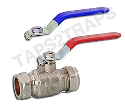 04e30e9af7ebb 15MM FULL BORE RED OR BLUE HANDLE LEVER BALL VALVE