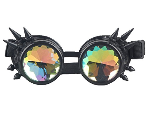 Rainbow Crystal Lenses Steampunk Glasses Chrome Finish Gotchic Welder Goggles,Black,Adjustable ()