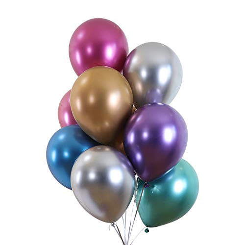 Juland 50 PCS Metallic Party Balloons Glossy Metal Pearl Latex Balloons 12'' Thick Pearly Chrome Alloy Inflatable Air Balloons for Birthdays, Bridal Shower - Assorted Colors