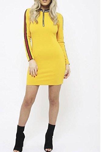 Sleeve Women's Pullover Comfy Bodycon Zipper Striped Yellow Long Dress Mini axpvv4