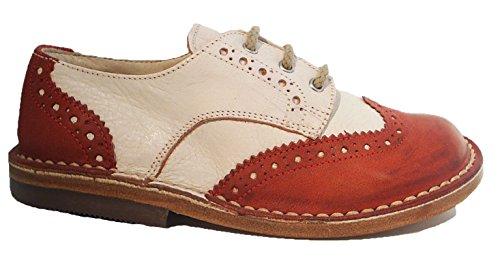 Italienische Eureka Schnürer Schnürschuhe Leder rot creme Budapester Muster