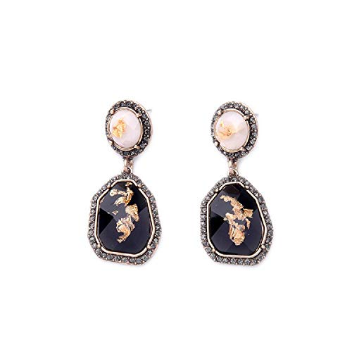 ELFTUNE Gemstone Earrings Dangle Drop Unique Statement Post Long Black Fashion Gold Studs for Women Gifts ()