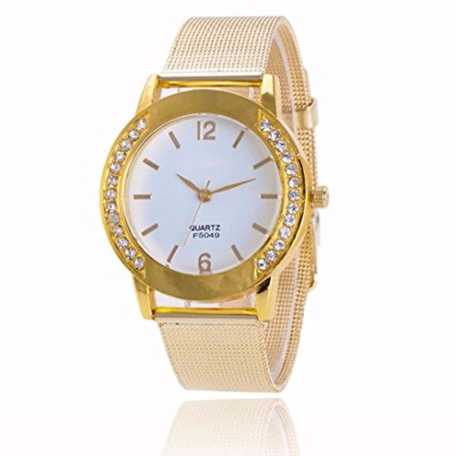 Fashion Women Crystal Golden Stainless Steel Analog Quartz Wrist Watch by Rakkiss (B) (Ceramic Analog Quartz Watch)