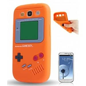 OnlineBestDigital - Gameboy Style Silicone Case for Samsung Galaxy S4 IV I9500 / I9505 - Orange with 3 Screen Protectors and Stylus