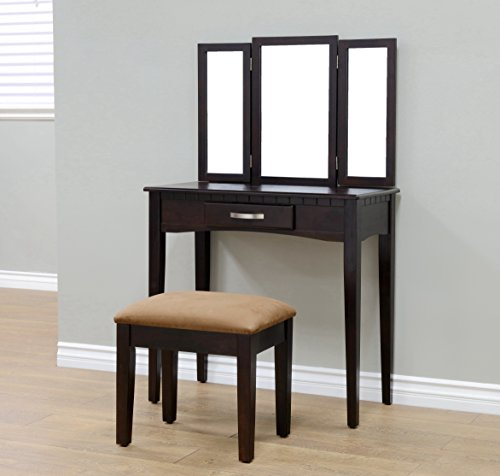Frenchi Home Furnishing RVMH206 Vanity, Espresso - Furniture Vanity