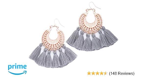 AU SELLER Bohemian Style White Tassel Drop Earrings Vintage