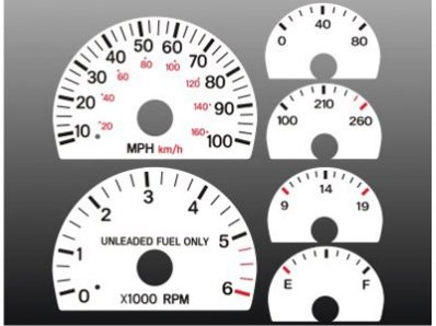 01 White Face Gauge - 1997-2001 Jeep Cherokee White Face Gauges 97-01