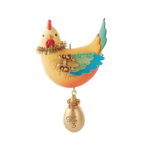 1 X Three French Hens Twelve Days of Christmas #3 Series 2013 Hallmark Ornament