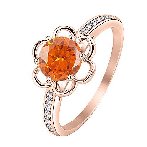 Dabangjewels Flower Shape Round Orange Sapphire & White Diamond 14K Rose Gold Plated Engagement Wedding Band Ring for Women's