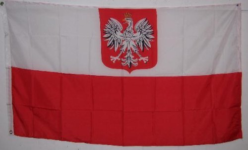 Old Style Country Flag - 4x6 POLAND FLAG - OLD STYLE w/ Eagle - - 4x6ft polish 4 foot by 6 foot