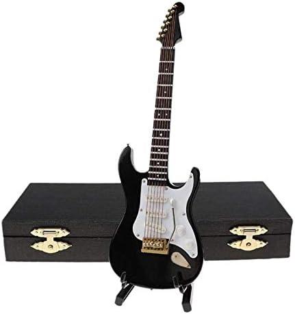 Iycorish Guitarra EléCtrica en Miniatura de Madera con Soporte y Estuche Instrumento Musical Casa de Mu?Ecas en Miniatura Modelo Negro: Amazon.es: Hogar