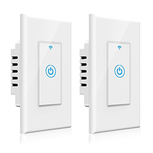 Smart Light Switch - Gosund Smart Wifi Light Wall Switch 15A Touch Timing Function Remote Control From Anywhere, Works with Alexa, Google Assistant And IFTTT, No Hub Required (2 pack) by Gosund