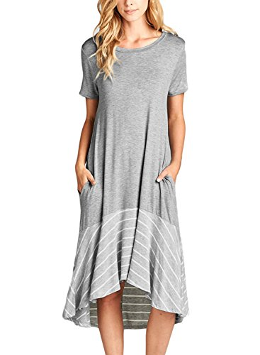 Hem Ruffle Dress (ROSKIKI Summer Midi Dresses with Pockets for Women Short Sleeve High Low Spilce Striped Ruffle Hem Short Sleeves Round Neck Flowy T Shirt Dresses Grey X-Large US 16-18)