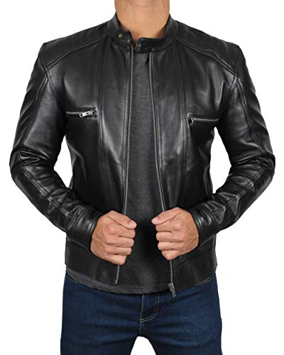 Mens Race Jacket - Decrum Cafe Race Slim Black Leather Jacket for Men | [1100513] Luis, M