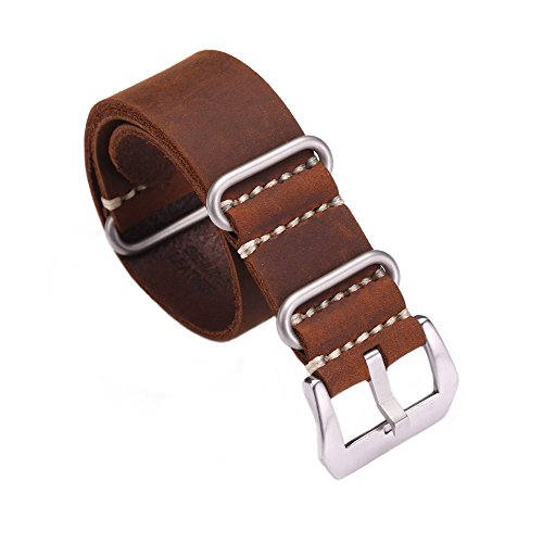 Carty Replacement Watch Band Strap Vintage Handmade Crazy Horse Leather Zulu Nato 20mm/22mm/24mm(zmt1-20brsl) (20 Mm Watch Band Nato)