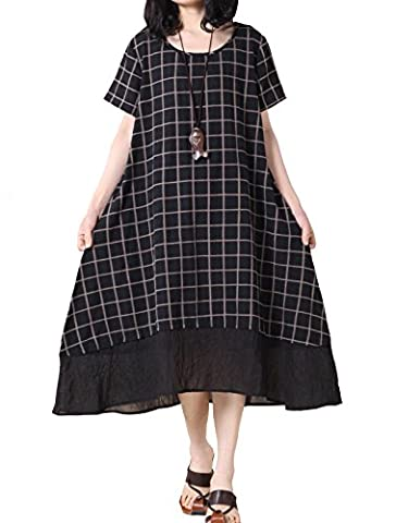 Mordenmiss Women's New Plaid Irregular Hem Dress (Medium, Short Sleeve Black) - Together Short Sleeve Dress