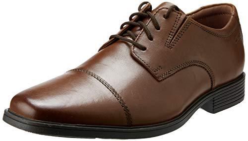 Clarks Tilden Cap Dark Tan Leather 11.5 EE - Wide