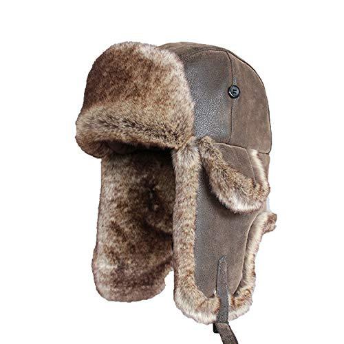 (Bomber Hats Faux Rabbit Fur Vintage PU Leather Earflap Aviator Trapper Men Women Winter Warm Snow Ski Cap)