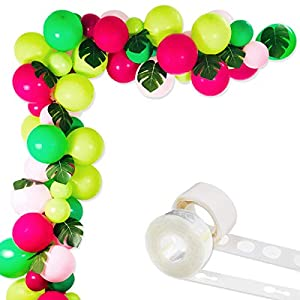 Tropical Hawaii Party Decorations Balloons, 75 Pack Balloon Garland Kit- Latex Balloons with Palm Leaves and Balloon Strip Set for Baby Shower Wedding Birthday Flamingo Luau Fruit Party Supplies 81
