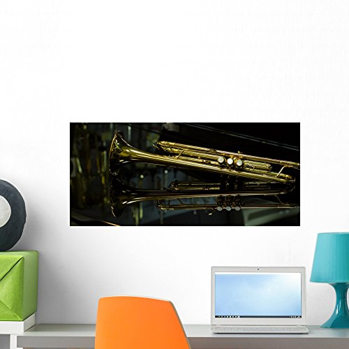 Beautiful Golden Trumpet Wall Mural by Wallmonkeys Peel and Stick Graphic (24 in W x 11 in H) WM364728 (Gold Bands Reeds)