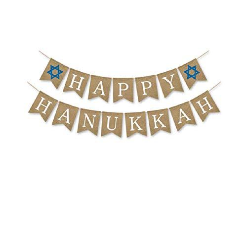 Happy Hanukkah Banner (Happy Hanukkah Banner Burlap Bunting Garland Flags for Hanukkah Party Decoration)