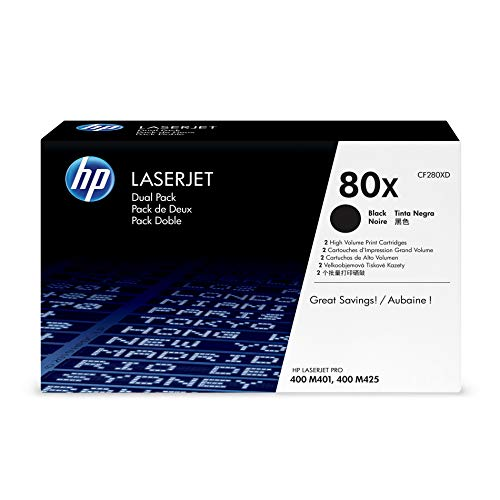 HP 80X (CF280X) Black Toner Cartridge High Yield, 2 Toner Cartridges (CF280XD)  for HP LaserJet Pro M401 M425 110 Laser Toner Cartridge
