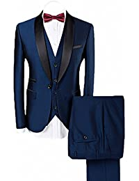 78eec3b545 Men's Shawl Lapel 3-Pieces Suit Slim Fit One Button Dress Suit Blazer  Jacket Pants
