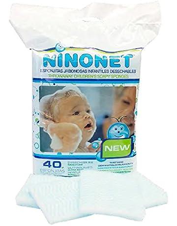 Esponjas jabonosas desechables infantiles NINONET®. Paquete con 40 esponjas especiales para las pieles sensibles