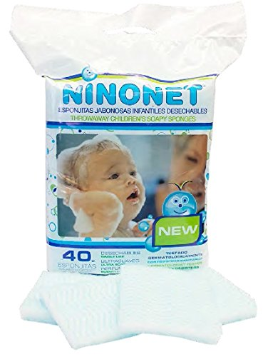 Esponjas jabonosas desechables infantiles NINONET®. Paquete con 40 esponjas especiales para las pieles sensibles del bebé Layertex