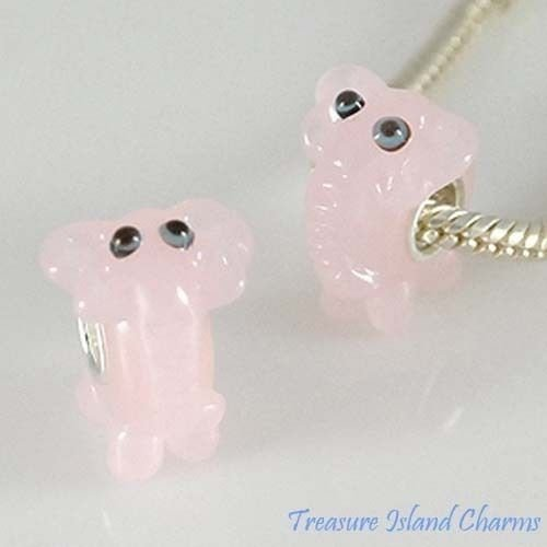Elephant Charm Glass (Pink Elephant LAMPWORK Murano Glass 925 Sterling Silver European Bead Charm Crafting Key Chain Bracelet Necklace Jewelry Accessories Pendants)